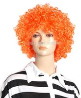 ingrosso clown arancione-SPEDIZIONE GRATUITA +++ Bella Halloween Uomo Donna Arancione ricci pagliaccio Clown parrucca