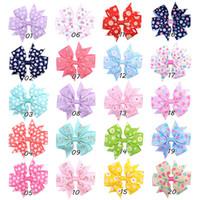 sonnenblumen zubehör groihandel-20 Farben Daisy Sunflower Dot Print Ripsband Haarnadel Grils Bogen Haarspangen Haarspange Baby Kinder Haarschmuck Boutique Headwear C82002