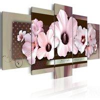 duvar resmi pembe çiçek tuvali toptan satış-HD (Hiçbir Çerçeve) 5 Adet / takım Modern Tuval Boyama Pembe Hibiscuses Çiçek Sanat Baskı Çerçevesiz Tuval Boyama Duvar Resmi Ev Dekorasyon