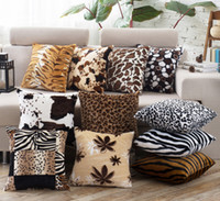Wholesale zebra print sofas for sale - Group buy Animal pattern Pillow case leopard zebra cushion pillow covers Square Super Soft Throw Pillowcases Cushion Cover for Bench Couch Sofa