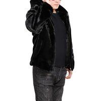 chaquetas con capucha de piel larga para hombre al por mayor-Escudo para hombre de gamuza con capucha para hombre de manga larga Negro Piel Estación corto espesa la capa de los hombres chaqueta informal