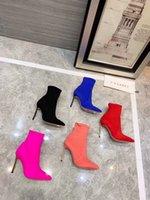ingrosso scarpa coscia pura-coscia tacchi alti moda donna scarpe stampa marrone caviglia Stivali impermeabili in vera pelle Colore puro