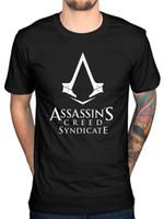 logotipo pirata venda por atacado-Oficial Mens Assassins Creed Syndicate Logo T-Shirt Piratas Rogue Identity Game