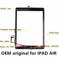 digitalizador original da maçã para o ipad venda por atacado-Oem original para ipad air 1 ipad 5 digitador da tela telas de toque assembléia de vidro com botão home adesivo adesivo de cola peças de reposição