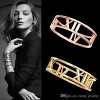 золотой римский цифра браслет оптовых-Мода титана стали Любовь браслет римские цифры полые манжеты браслеты браслеты для женщин позолоченные браслеты ювелирные изделия оптом