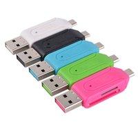 adaptador de doble ranura al por mayor-22 2 en 1 USB macho a micro USB Adaptador OTG de doble ranura con lector de tarjeta de memoria SD TF 32GB 4 8 16GB para teléfono inteligente Android