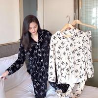servicio de terciopelo al por mayor-La versión coreana de otoño e invierno del gran pijama de terciopelo dorado para mujer de manga larga doble se puede usar fuera de la rebeca servicio a domicilio dos p