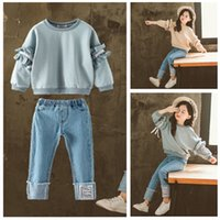 Wholesale cute boys jeans resale online - Girls spring suit children Korean fashion tide suits in the air in the big boy spring two piece lace sleeve Top jeans sets