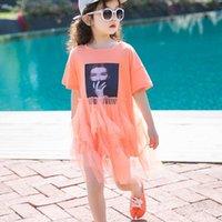 ingrosso vestiti arancioni delle ragazze di cotone di estate-Vestito da patchwork a rete con motivo a stampa nuova estate Neonate Abito da principessa arancione Abito in cotone per adolescenti Vestiti per bambini Ws787