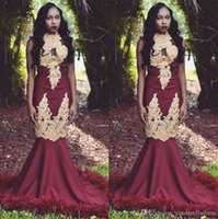 Wholesale apple picking resale online - 2020 Vintage Burgundy Mermaid High Neck Gold Appliques Prom Dresses With Feather Black Girls South African Evening Gowns BC1143