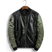 ingrosso air force leather jacket-PU Bomber Jacket Uomo Ma-1 Flight Jacket Pilot Air Force giacche di pelle maschile Army moto Cappotti 3XL Biker Jeans