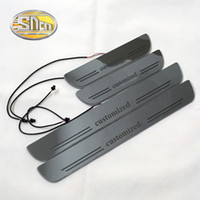 Wholesale led welcome plate resale online - SNCN Customized Acrylic Dynamic LED Welcome Pedal Car Scuff Plate Pedal Door Sill Pathway Light or