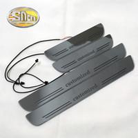 lider karşılama plakası toptan satış-SNCN Özelleştirilmiş Akrilik Dinamik LED Hoşgeldiniz Pedalı Araba Itişme Plaka Pedalı Kapı Eşiği Yolu Işık 2 adet veya 4 adet