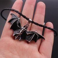 vampirleder groihandel-Punk Bat Fly Night Flier Vampire Vintage-Lederhalskette Männliche Masquerade Terror Tier Charm Schmuck Kühle Antike Geschenk
