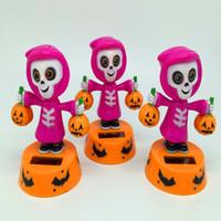 Wholesale funny car sale for sale - Halloween Toy Kids gift pumpkin skeleton car pendant interior funny solar decoration factory Direct Sales