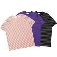 полосатые шорты оптовых-19SS PALA Полосатая футболка Хип-хоп Уличная футболка Простая повседневная футболка с подбором цветов Мужчины Женщины Лето Свободные негабаритные с коротким рукавом HFYMTX476