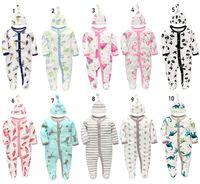 детская одежда оптовых-Новорожденных малышей девочек-мальчиков мальчиков комбинезон + шапка / комплект детской одежды 100% хлопок класс мягкий сейф с длинным рукавом фламинго панда челнока
