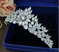 ingrosso sposa da micro vestito-Sposa zircone micro intarsiato copricapo da sposa copricapo ornamenti parrucca principessa accessori abito corona