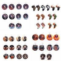 Fashion Round Wooden Earrings Dangle Printed Letters African Female Eardrop Wood Charm Pendant Earrings For Women Jewelry Statement Gifts