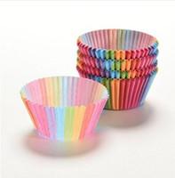papel de parede cupcakes venda por atacado-Colorido Queque Forro Queque Cup Cupcake Muffin De Papel Casos Caixa De Bolo Cup Ovo Tortas Bandeja Bolo Mould Decoração Ferramentas