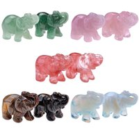 opala opalita venda por atacado-Sunligoo Opal Opalite Tiger Eye Elephant Pedra Natural 1.5inch Carved estatueta Chakra Bead cura de cristal Reiki Feng Shui Decor C19021601