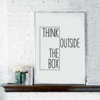 ingrosso idee di arti-Motivational Print Creative Decor - Pensare fuori dagli schemi - Home Office Minimal Wall Art Canvas Painting Ideas For Classroom No Frame