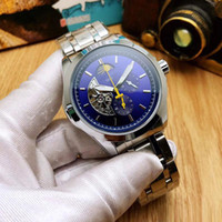 Wholesale best watch bands for men for sale - Group buy luxury All sub dials work men watches Top brand mechanical automatic Stainless Steel band Moon Phase watch for mens best gift wristwatches