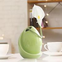 зеленая белая ваза оптовых-Классический белый Серебристо-зеленый черный Керамическая Ваза Настольный Стол Творческий Подарок Украшения Для Дома Свадебные Вазы