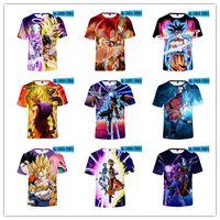 ejderha topu goku kostüm toptan satış-Dragon Ball Z Süper Saiyan Goku Vegeta Baskılı Kısa Kollu T-shirt Kostüm Yaz Moda Günlük Rahat Tee Gömlek