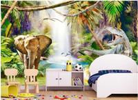 papel pintado de los niños al por mayor-WDBH 3d fondo de pantalla personalizado foto Primitive Forest Dinosaur Children's Room fondo decoración del hogar 3d murales de pared papel tapiz para paredes 3 d