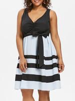 v boyun swing elbiseleri artı boyutları toptan satış-Büyük Beden V Yaka Çizgili Swing Elbise