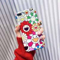 gesicht abdeckung für telefone großhandel-YunRT Bunte Sun blume smiley Weiche IMD Telefonkasten für iphone 7 Plus 6 6S 7 8 X Nette lustige rückseitige Abdeckung für iphone XS Max XR