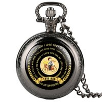 стильные подарки оптовых-Dropshipping Stylish Quartz Pocket Watch Retro for Male TO MY DAUGHTER Love Dad Theme Series Gift for Pocket Watch With Necklace