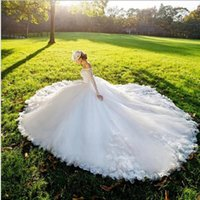 Wholesale korean wedding dress line for sale - Group buy Anhui Lace Fabric Boat Neck Backless Sexy Wedding Dress Korean Style off the Shoulder Wedding Dress with White Sash