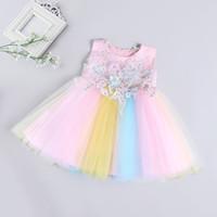 recém-nascido menina vestidos de noiva venda por atacado-Varejo Do Bebê meninas Vestido de flores Bordado Vestido de Princesa Vestido de Casamento Das Crianças Recém-nascidas saia crianças boutique de roupas