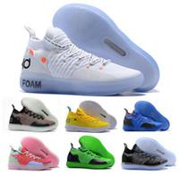 baloncesto violeta zapatillas deportivas al por mayor-Barato Kd 11 zapatos de baloncesto zapatillas de deporte Hombres Mujeres Jóvenes Rojo Violeta persa paranoide PE mosca Kevin Durant zapatos 11s XI 2018 Deportes atléticos