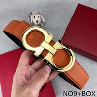 cinturones hombre diseñador al por mayor-Cinturón Hombre Mujer Moda Hombre Cinturones de diseño de lujo de la marca Cinturones Casual F letras del logotipo liso de la hebilla 14 Estilos Ancho de 38 mm de alta calidad con la caja