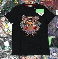 karikaturkragenhemd großhandel-Männer und Frauen mit dem gleichen Sommer populären Logo bestickt T-Shirt Liebhaber Outfit halben Ärmel Cartoon Tierkopf runden Kragen Kurzarm