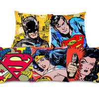 Wholesale sofa pillow pop art online - 6 Styles American Vintage POP Art SUPER HERO Cushion Covers Superman Batman Wonder Woman Cushion Cover Bedroom Sofa Throw Linen Pillow Case