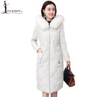 длинные шубы оптовых-Winter Leather Down Jacket Women Long  Fur Collar parkas 2018 New Korean Jacket Coats Hooded Ladies Sheep Skin Outerwear N564