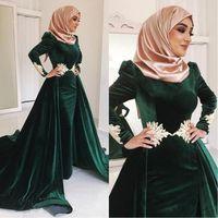 Wholesale green velvet dresses resale online - Dark Green Velvet Muslim Evening Dresses High Neck Appliqued Plus Size Prom Gowns Long Sleeves Hijab Kaftan Dubai Overskirt Formal Dress