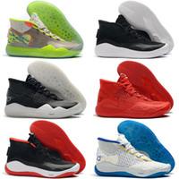 baloncesto kevin durant blue zapatos al por mayor-2019 Nuevo Kevin Durant 12 XII High KD 35 Warriors Home Blanco Azul Amarillo Hombres Zapatillas de baloncesto Hombre Calzado deportivo KD12 Zapatillas de deporte Size7-12