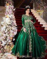 zümrüt yeşil çizgi toptan satış-Uzun Kollu Pırıltılı Altın Dantel Detay Fas Prensesleri Romeo Artı boyutu Balo törenlerinde Lüks Emerald Green Müslüman Abiye