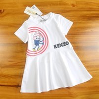 niño crema verano al por mayor-Vestido de princesa de verano 2019 Helado Impresión Camisa de algodón para niños Nueva moda De alto grado