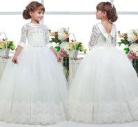 Wholesale hem wedding dress flower for sale - Group buy 2019 White First Communion Flower Girl Dresses Princess Tulle Lace Applique Hem Ball Gown Kids Graduation Pageant Gowns BC1012