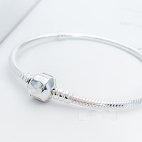 Wholesale silver letter bead pandora for sale - Group buy 2019 Beads Pandora Real Silver Not Plated Heart Pave CZ Bracelet Snake Chain with Bracelets With Letter Stamp DIY