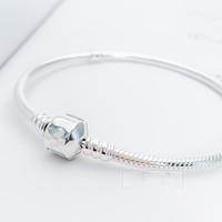 925 silberne armbänder gestempelt großhandel-2019 Perlen Pandora Real 925 Silber nicht plattiert Herz ebnen CZ Armband Schlangenkette mit Armbändern mit Briefmarke DIY