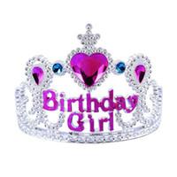 tiara princesa infantil al por mayor-eadbands para bebés y niños pequeños Rhinestone Rosa cumpleaños de la princesa Tiara Kids plástico hairband de la venda con el peine de chicas coronas y Tiara ...