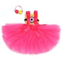 fotos de ropa de bebé al por mayor-Hot Pink Girls Tutu Dress Baby Girl Birthday Party Cosplay Tutu Dresses Halloween Costume Clothes Wear For Kids Photos