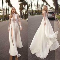 Wholesale sexy wedding dresses images online - 2019 Vintage Muse By Berta Bohemian Wedding Dresses A Line Lace Applique Side Split High Neck Sexy Beach Wedding Gown Plus Size BC1039